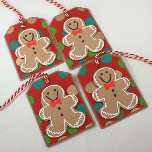 Christmas Gift Tags Handmade.Handmade Christmas Gift Tags Gingerbread Men