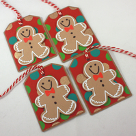 Handmade Christmas gift tags - gingerbread men