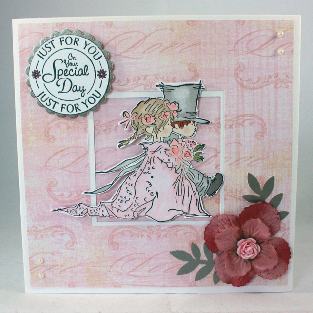 Handmade wedding card - bride and groom, Just for you On Your Special Day
