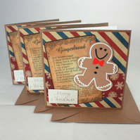 Handmade Christmas cards - Gingerbread men - pack of 3