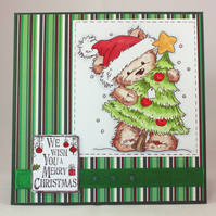 Handmade Christmas card - cute bear with Christmas tree