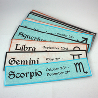 Handmade laminated bookmark - signs of the zodiac