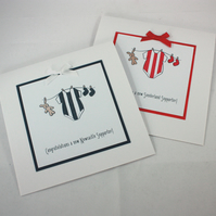 Handmade new baby card - personalised in football team colours