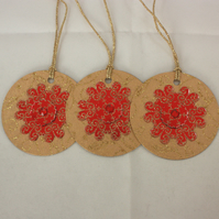 Red and gold Christmas gift tags - pack of 3