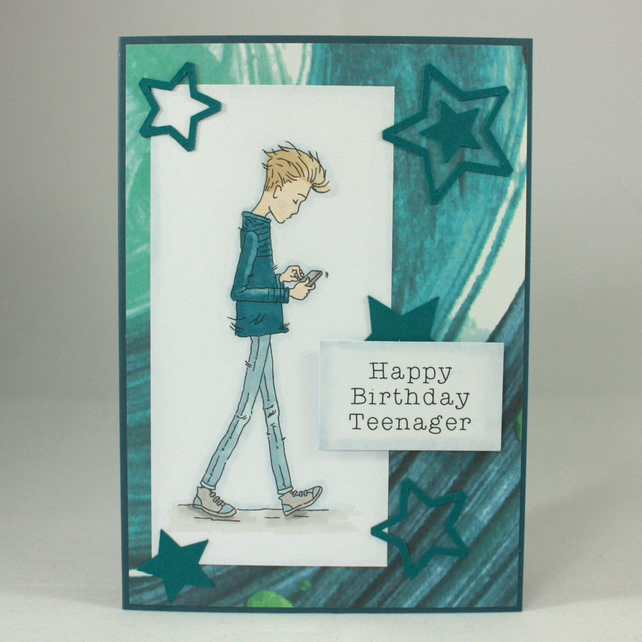 Handmade birthday card - teenage boy