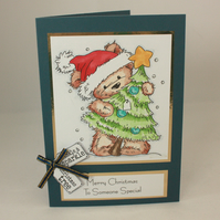Handmade Christmas card - cute bear with Christmas tree - to someone special