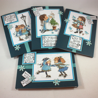 Pack of 4 handmade Christmas cards - Christmas girls