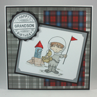Handmade kids birthday card - the astronaut