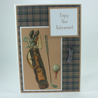 Handmade retirement card - vintage golf