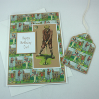 Handmade Dad birthday card - vintage golfer with matching gift tag