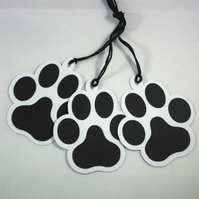 Handmade gift tags - black and white paw print