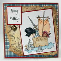Handmade kids pirate card - Ahoy Matey!