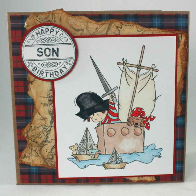 Handmade son birthday card - pirates