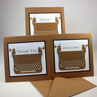 Pack of 3 handmade blank notecards - typewriter message