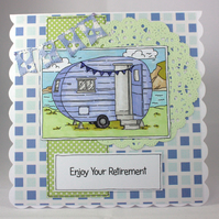 Handmade retirement card - off in the caravan