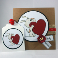 Handmade Valentine's Day card and gift tag - cute dog with heart