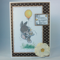 Handmade birthday card - bunny with balloon