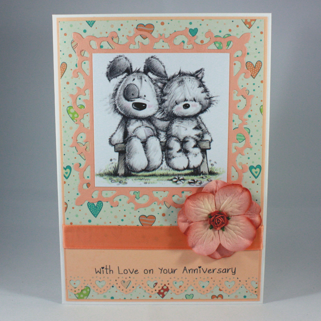 Handmade anniversary card - cute cat and dog