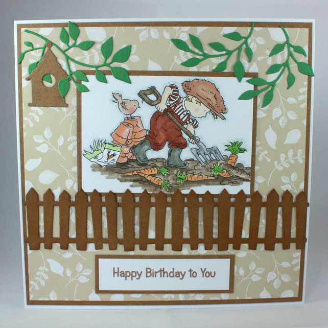 Handmade birthday card - gardener in the veg patch