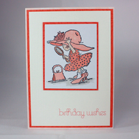 Pretty girl birthday wishes card