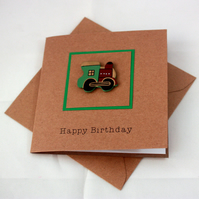 Handmade birthday card - little green train