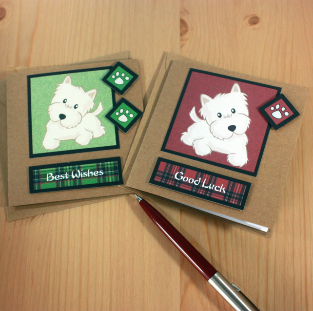 Pack of two Westie cards - Good Luck and Best Wishes
