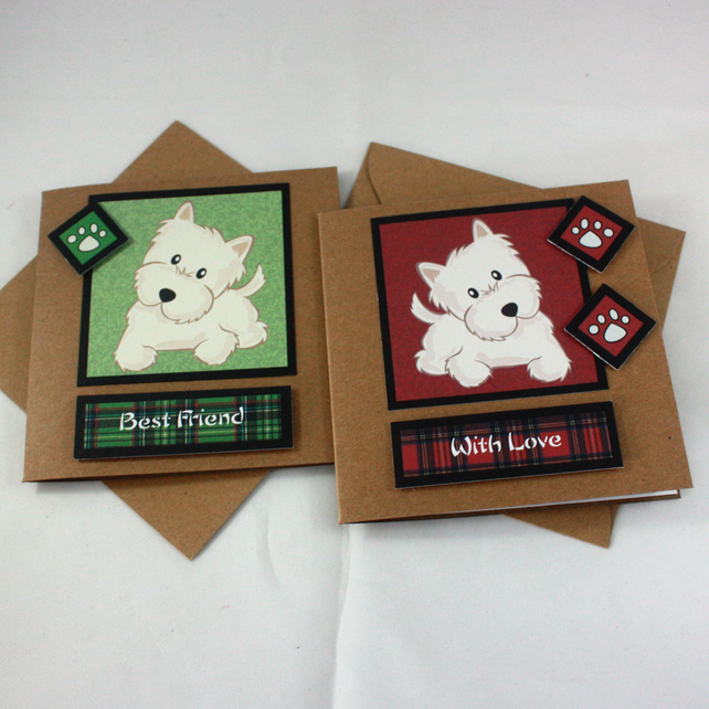 Pack of two, any occasion, Westie cards - With Love and Best Friend
