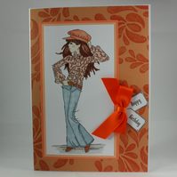 Handmade birthday card - fabulous flares