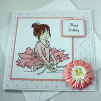 Handmade birthday card - ballerina