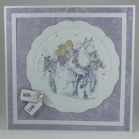 Handmade wedding card - bride and groom in carriage