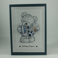 Handmade birthday card - Birthday Cheers bear
