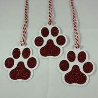 Handmade red glitter pawprint gift tags (pack of 3)