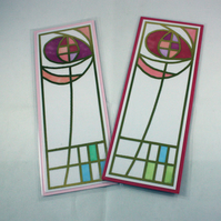 Pack of two Rennie Mackintosh style bookmarks