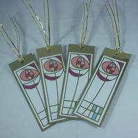 Rennie Mackintosh style gift tags, pack of 4