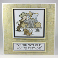 Handmade birthday card - vintage car, age humour