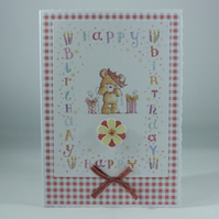 Cute teddy bear Happy Birthday card