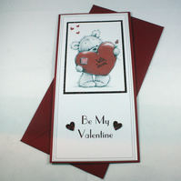 Handmade Valentine's Day card - cute bear with heart and rose