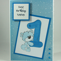 A6 cute teddy bear first birthday card