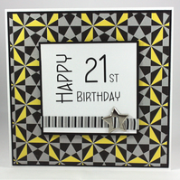 Handmade geometric pattern 21st Birthday card - can be personalised