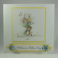 Mother's Day card - cute mouse with flower bouquet