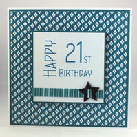 Handmade 21st Birthday card  - insert can be personalised