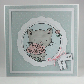 Handmade any occasion card - kitten with bouquet