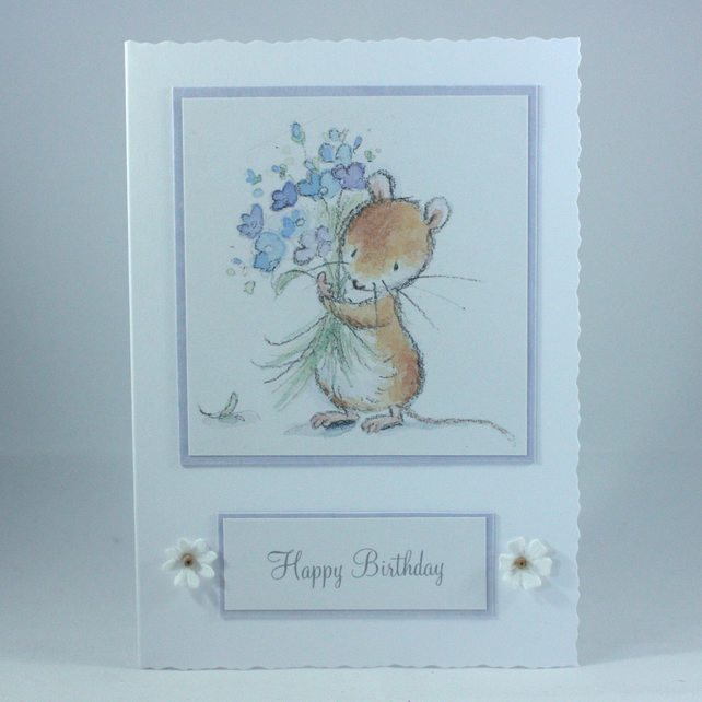 Cute birthday card - mouse with bouquet