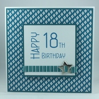 Handmade 18th Birthday card  - insert can be personalised