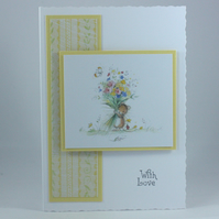Handmade, any occasion card - mouse with bouquet