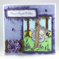 Handmade child's birthday card - purple fairy