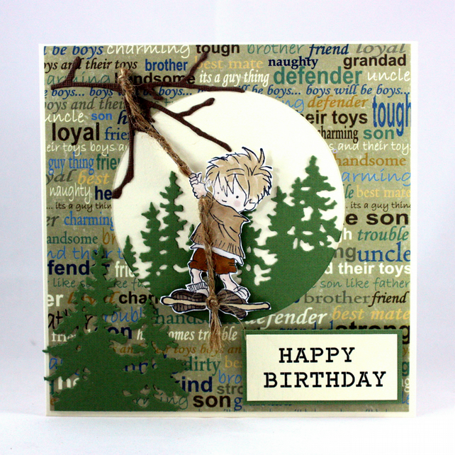 Handmade child's birthday card - tree swing