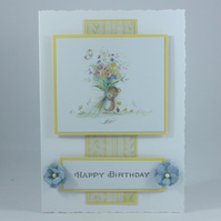 Handmade birthday card - mouse with bouquet