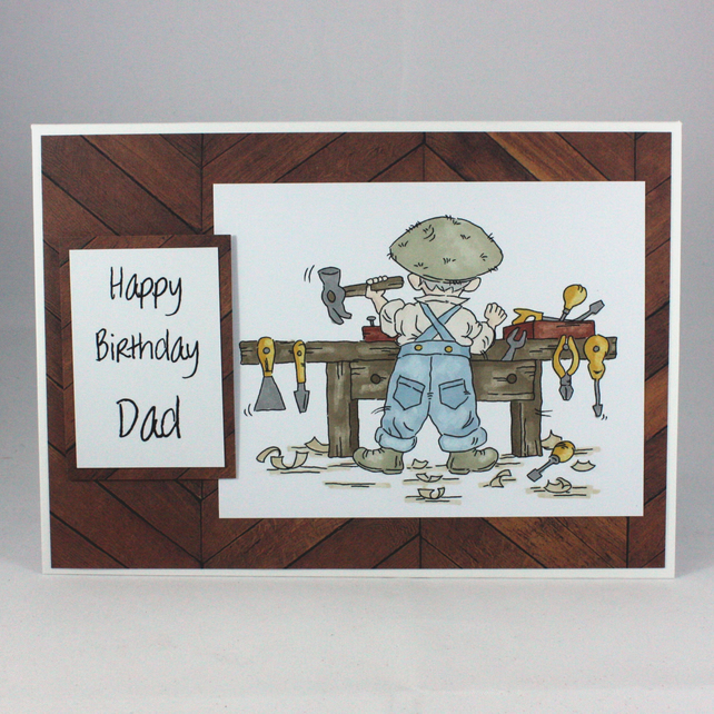 Handmade Dad birthday card - at the workbench