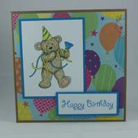Handmade child's birthday card - party teddy